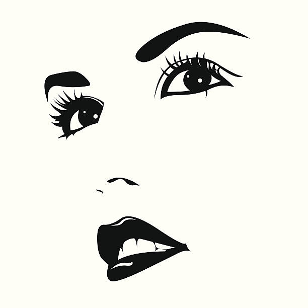 beautiful woman face vector - female faces stock illustrations, clip art, cartoons, & icons