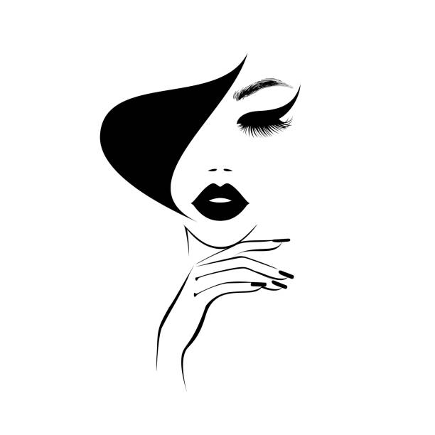 illustrazioni stock, clip art, cartoni animati e icone di tendenza di beautiful woman face with black lips, lush eyelashes, hand with black manicure nails, black hair, stylish hairstyle. beauty logo. nail art studio. wallpaper background. vector illustration. - bocca umana