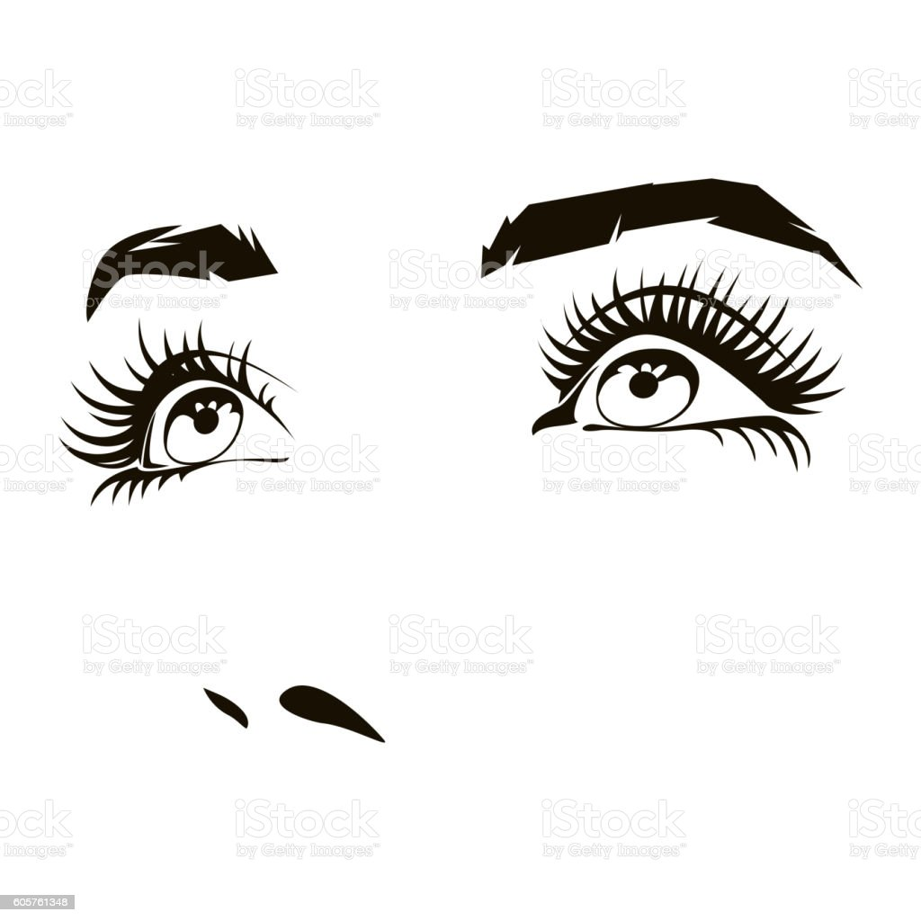 Beautiful woman face with expressive female eyes vector illustration – Vektorgrafik