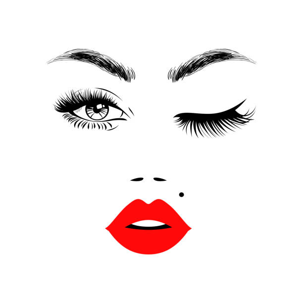 Beautiful woman face with red lips, eyebrows and lush eyelashes, one open eye and other closed, sexy birthmark. Beauty Logo. Vector illustration. Beautiful woman face with red lips, eyebrows and lush eyelashes, one open eye and other closed, sexy birthmark. Beauty Logo. Vector illustration. beautiful woman stock illustrations