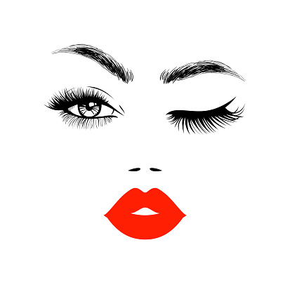 Beautiful woman face with red lips, eyebrows and lush eyelashes, one open eye and other closed, Beauty Logo. Vector illustration.