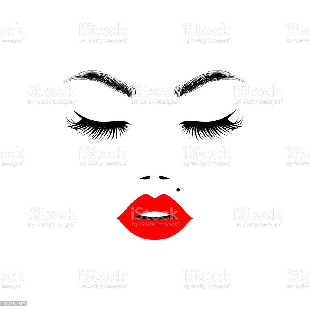 Beautiful Woman Face With Red Lips For Beauty Logo Sign Symbol Icon For Salon Spa Salon Hairdressing Firm Company Or Center Vector Illustration Stock Illustration Download Image Now Istock