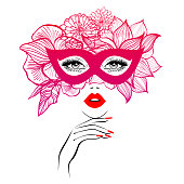 Beautiful woman face with red lips in black and red mask with floral motifs, lush eyelashes, hand with red manicure nails. Beauty Logo. Nails studio art. Vector illustration. Party carnival mask.