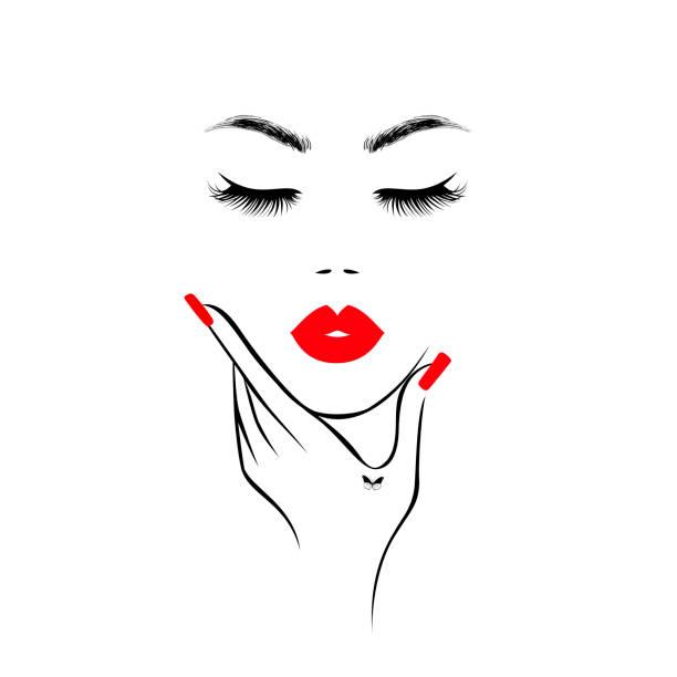 Beau visage de femme avec les lèvres rouges, les cils luxuriants, la main avec les ongles rouges de manucure. Salon de spa. Logo beauté. Illustration de vecteur - Illustration vectorielle