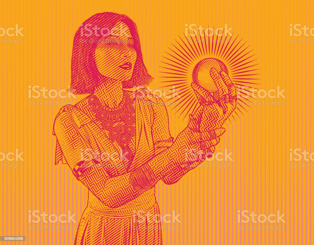 Beautiful woman fortune teller holding crystal ball vector art illustration