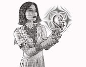 Colorful engraving of a beautiful East Asian woman fortune teller holding crystal ball