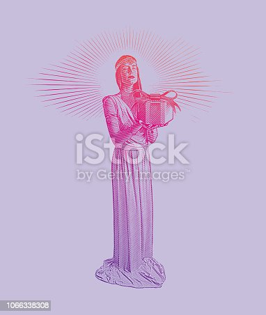 Engraving illustration of a Beautiful Woman giving gift box