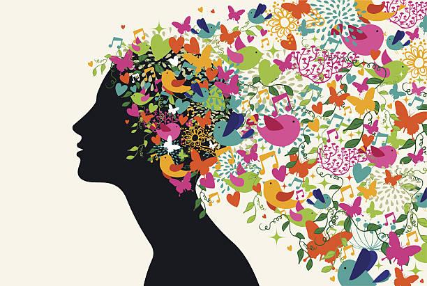 ilustraciones, imágenes clip art, dibujos animados e iconos de stock de hermosa mujer de pelo de concepto de temporada - cabello largo