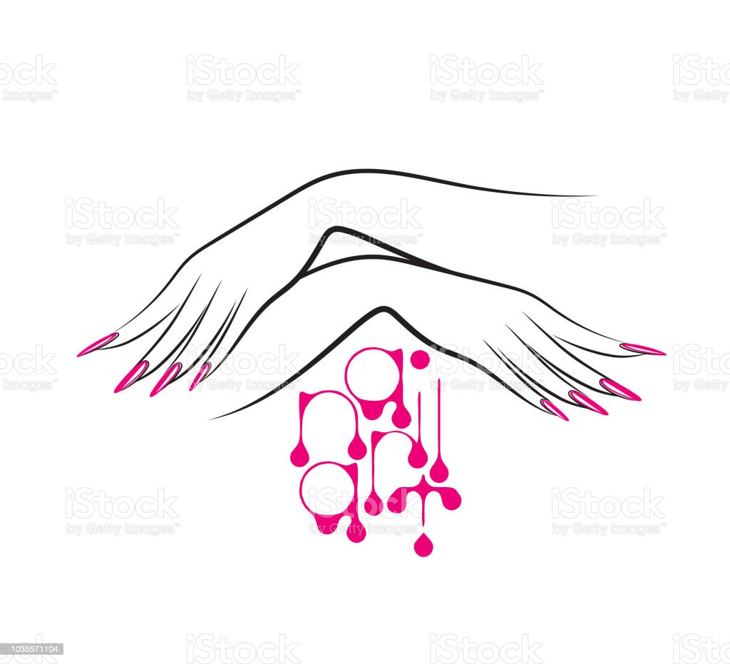 Beautiful woman hands with elegant pink nail polish manicure vector art illustration