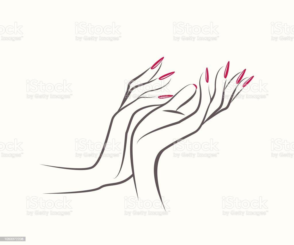 beautiful woman hands with elegant red nail polish manicurenails art salon vector illustration