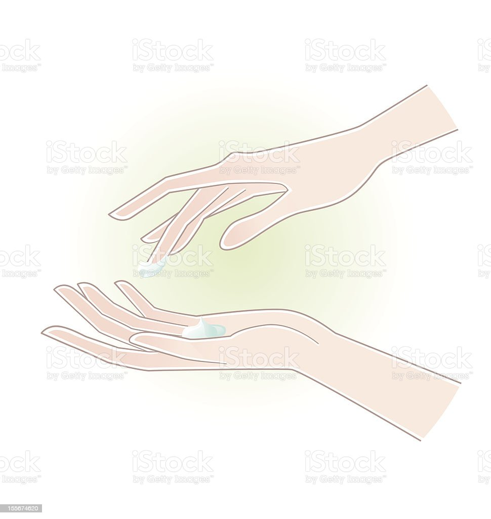 Beautiful woman hands with moisturizing cream on the palm vector art illustration