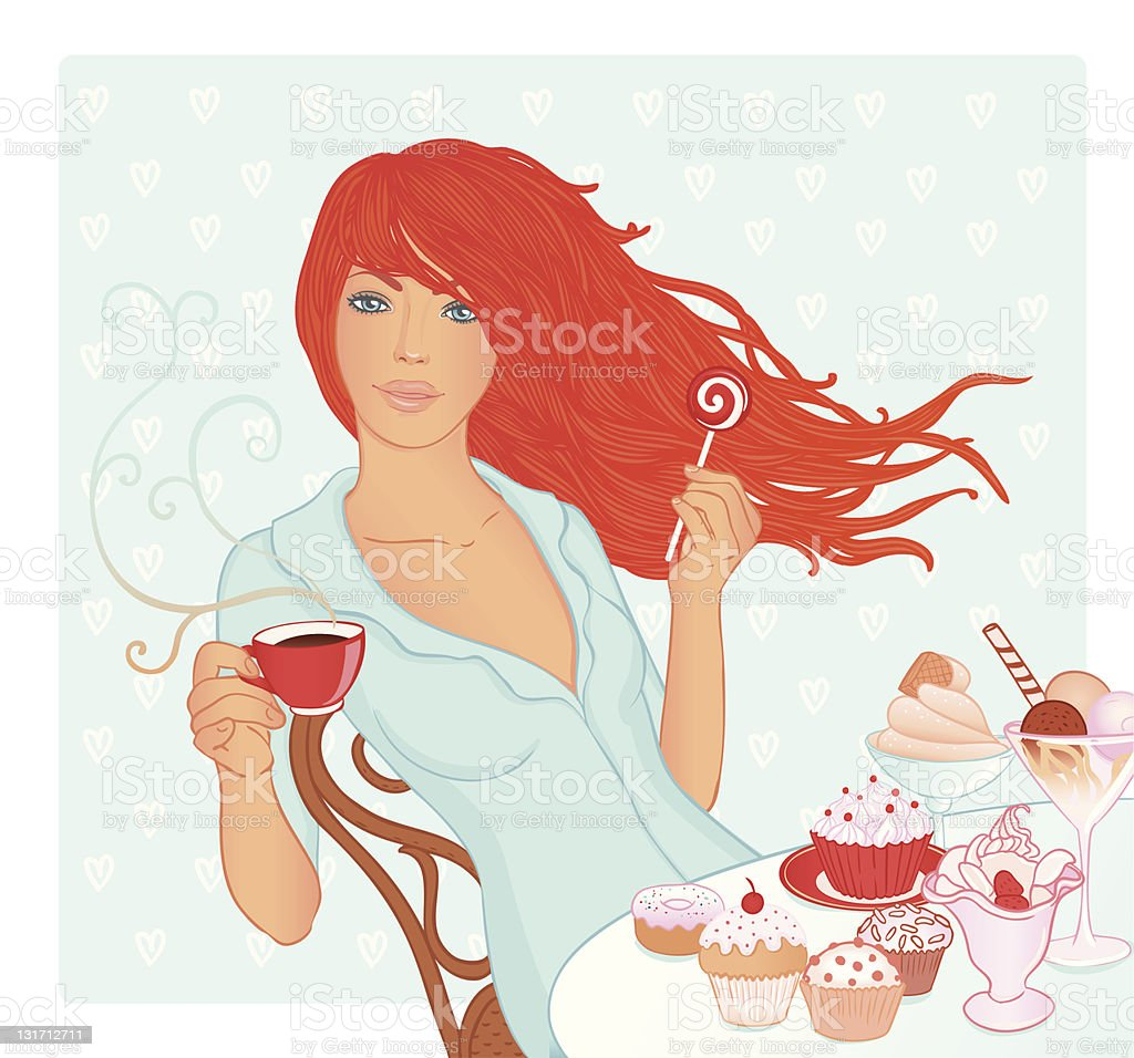 Beautiful woman holding cup of tea and lollypop royalty-free stock vector art