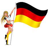 Beautiful woman holding flag of German. Soccer fan cheerleader