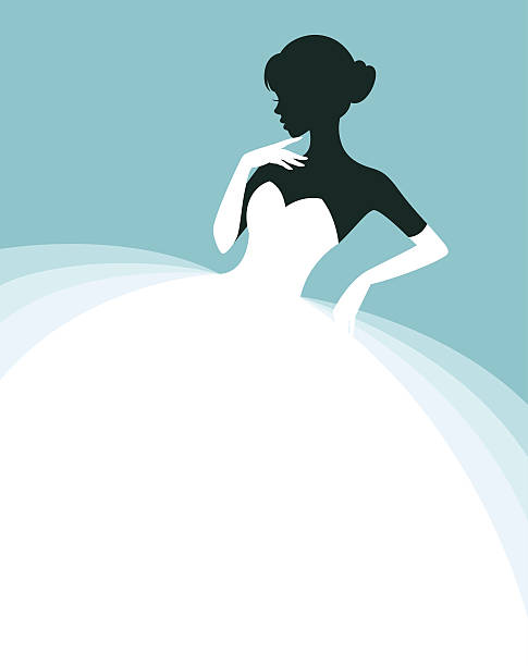 Beautiful woman in a wedding dress, invitation or flyer template vector art illustration