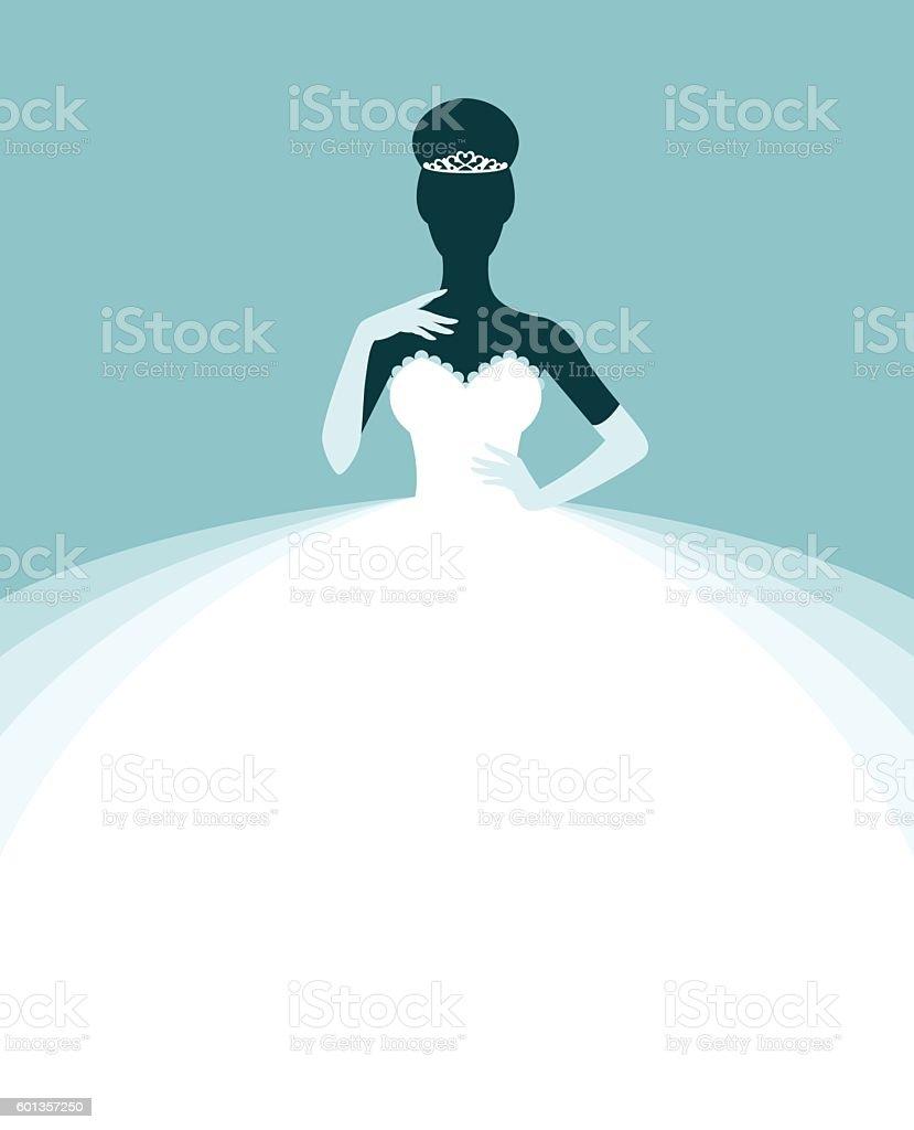 Beautiful woman in a wedding dress vector art illustration