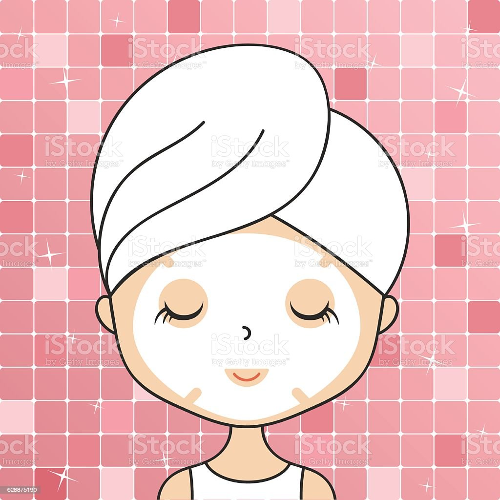 Beautiful woman in bathroom with head towel making cosmetic procedures vector art illustration