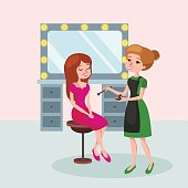 beautiful woman in beauty salon Vector illustration.