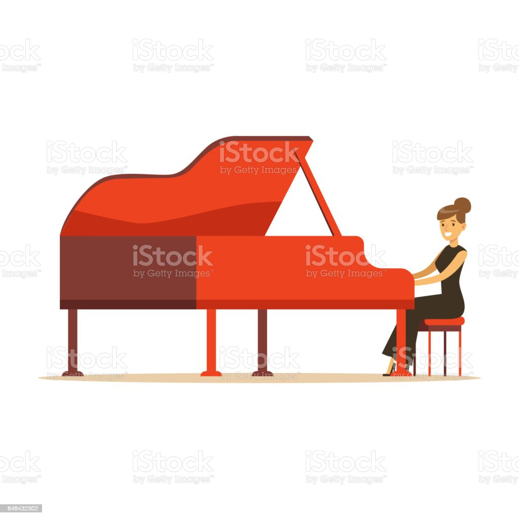 Schöne Frau im schwarzen Kleid, rote Flügel Vektor Illustration zu spielen – Vektorgrafik