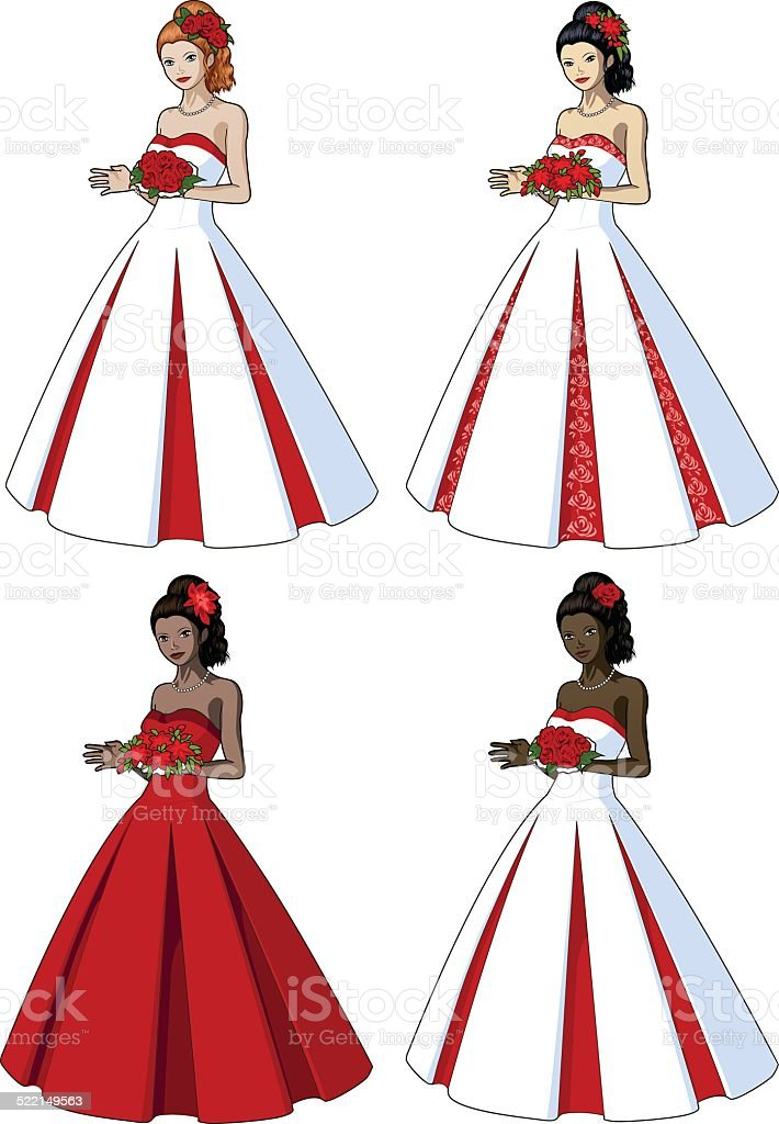 Beautiful woman in classic wedding gown vector art illustration