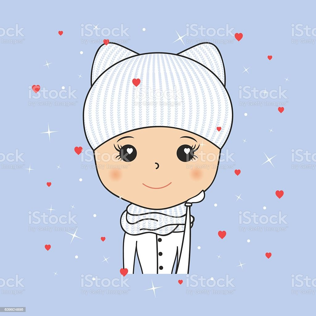 Beautiful woman in cozy winter hat with kitty ears, scarf vector art illustration