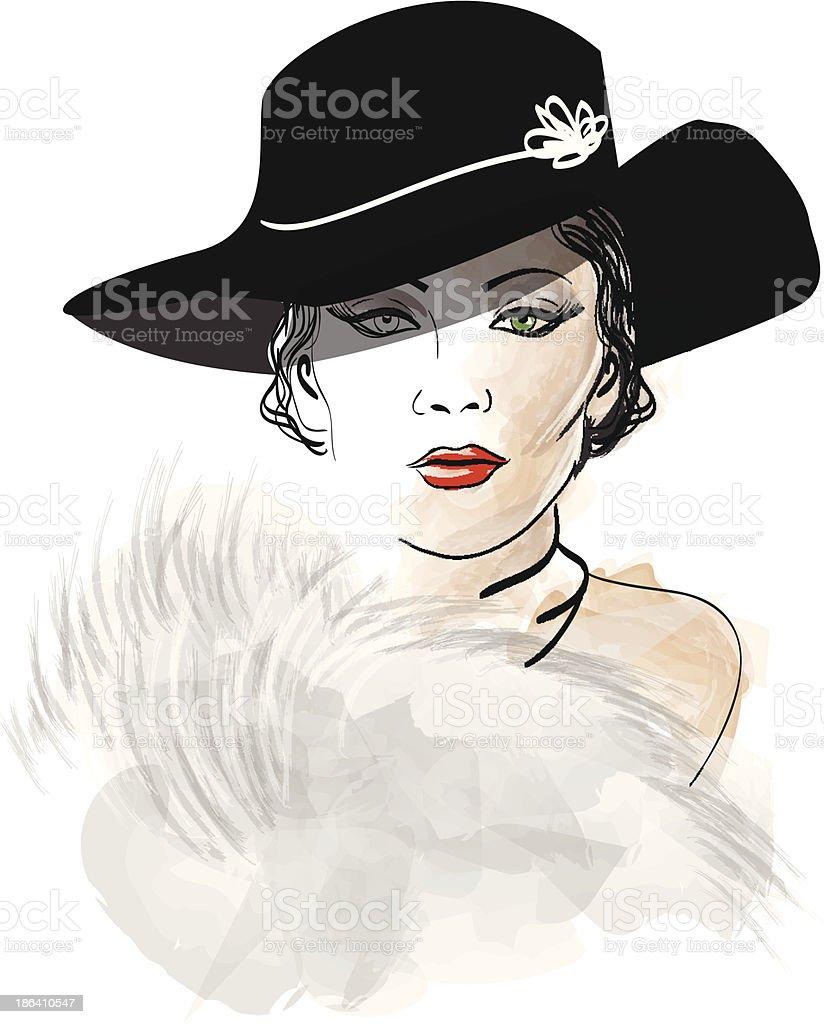 Красивая женщина в меховой в шляпе векторная иллюстрация