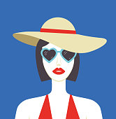 Beautiful woman in hat and sunglasses on blue background. Girl with red lips summer illustration. - Vector format