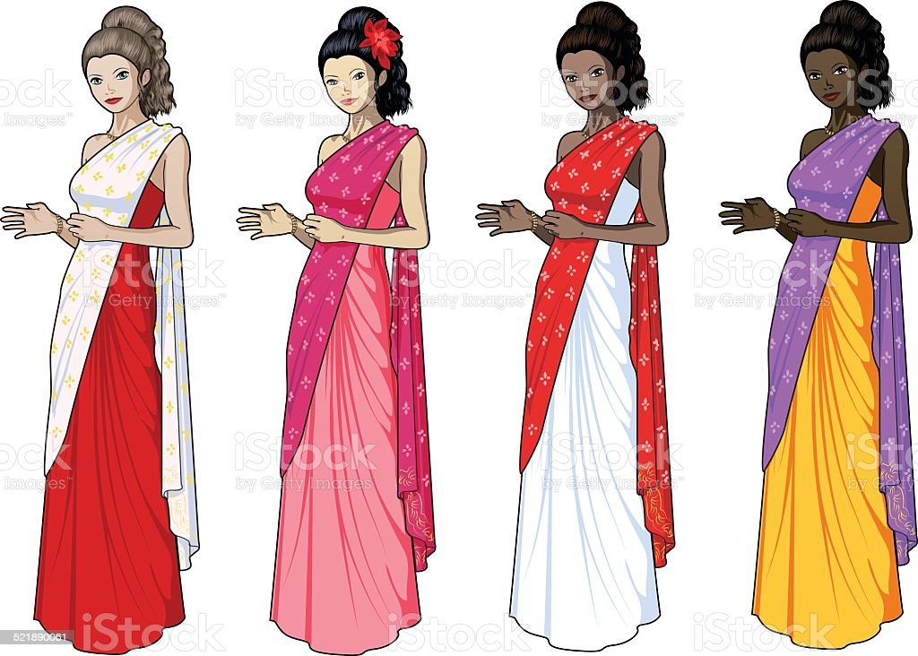 Beautiful woman in indian dress sari vector art illustration