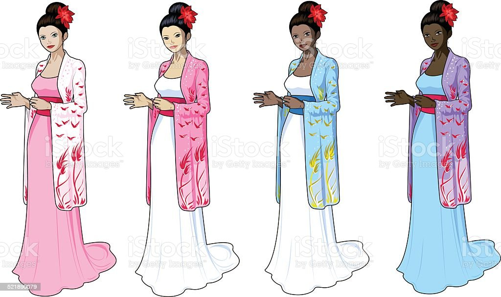 Beautiful woman in japaneese-styled wedding dress vector art illustration