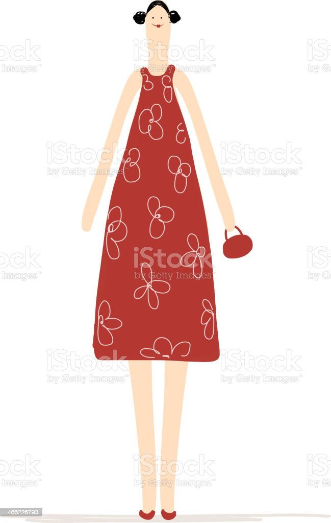 Beautiful woman in red dress for your design royalty-free stock vector art