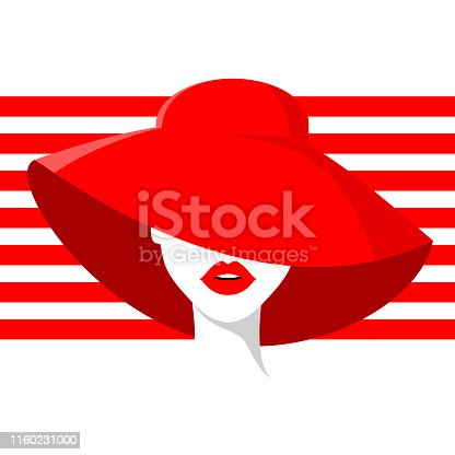 Beautiful woman in red summer hat, red lipstick, red stripes background. Vector fashion illustration.