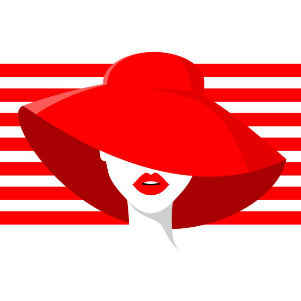 beautiful woman in red summer hat, red lipstick, red stripes background. vector fashion illustration. - summer fashion stock illustrations, clip art, cartoons, & icons