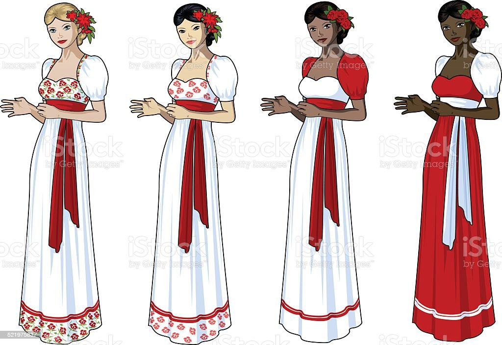 Beautiful woman in slavic wedding gown vector art illustration