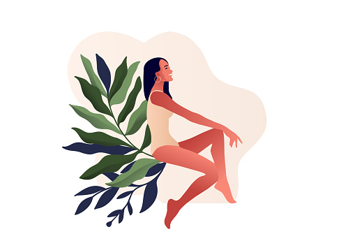 Beautiful woman in swimming suit. Body positive, illustration for lingerie design,