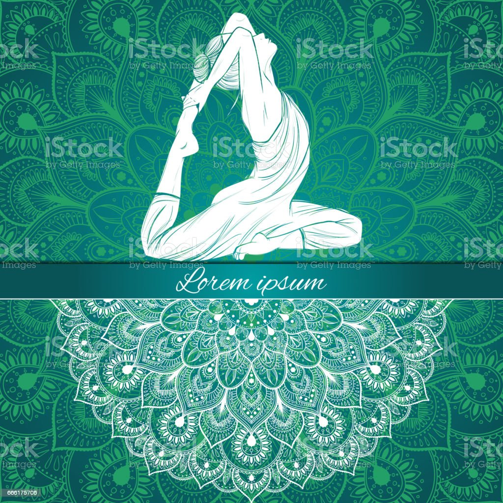 Beautiful Woman In Yoga Pose On A Ethnic Background Hand Drawn Vector Royalty