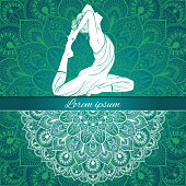 Beautiful woman in yoga pose on a ethnic background, hand-drawn, vector illustration