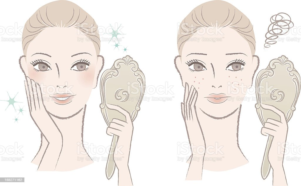 Beautiful woman looking  herself in the mirror. Before after. vector art illustration