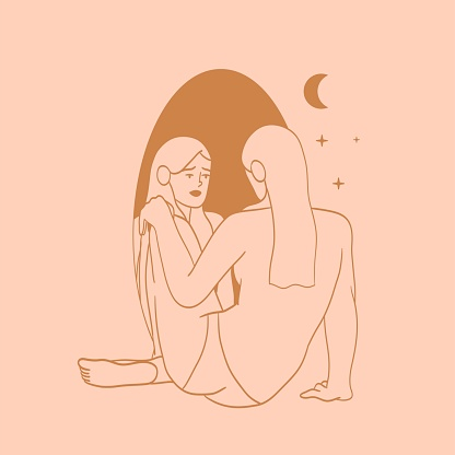 Beautiful woman looking into the mirror on her reflection drawn in simple minimalistic line style with celestial bodies on a pink background for logo, emblem, poster, tatoo, t-shirt print.