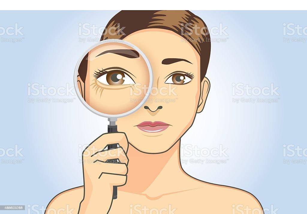 美しい女性彼女の目でしわを拡大 ベクターアートイラスト