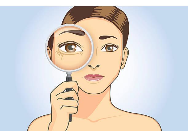 bildbanksillustrationer, clip art samt tecknat material och ikoner med beautiful woman magnifying wrinkle at her eye - kvinna ansikte glow