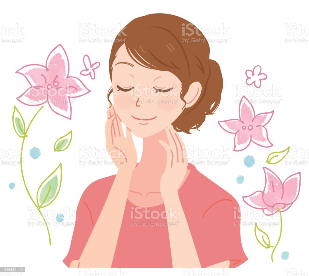 A beautiful woman makes her skin beautiful. Together with flowers vector art illustration