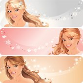 Beautiful Woman on Pastel Colored Backgrounds, Set of three Banner with Copyspace.