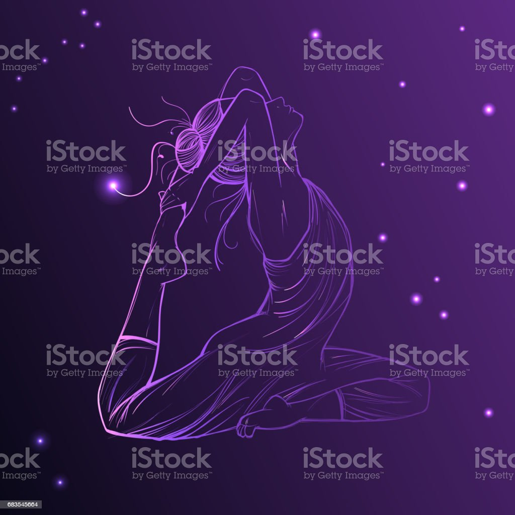 Beautiful woman on the Cosmic Sky. Vector illustration of bright purple star planet zodiacal symbols Astrology, vector art illustration
