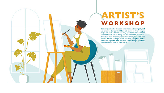 Cute woman paints on canvas in an art workshop. Artist creating picture. Art school or studio. Colorful vector illustration in flat style with a place for text. Artist's workshop poster