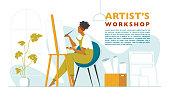 istock Beautiful woman paints in an art workshop. Artist's studio 1217770160