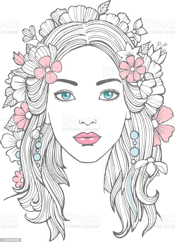Beautiful woman portrait mysterious drawing beauty young female with flowers in hair vector art royalty