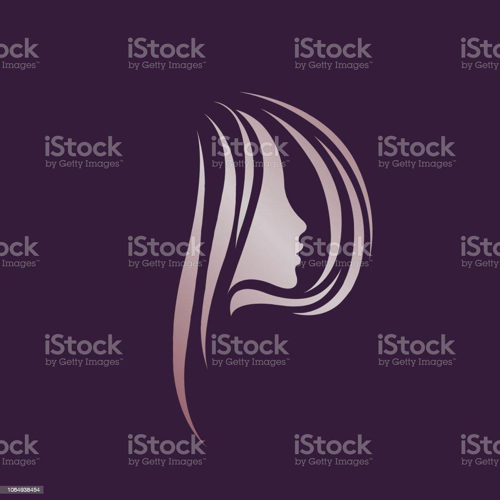 Schöne Frau Porträt Mit Langen Haaren In Form Der Buchstaben P Stil  Schönheit Und Haar Salon Vektor Icon Stock Vektor Art und mehr Bilder von