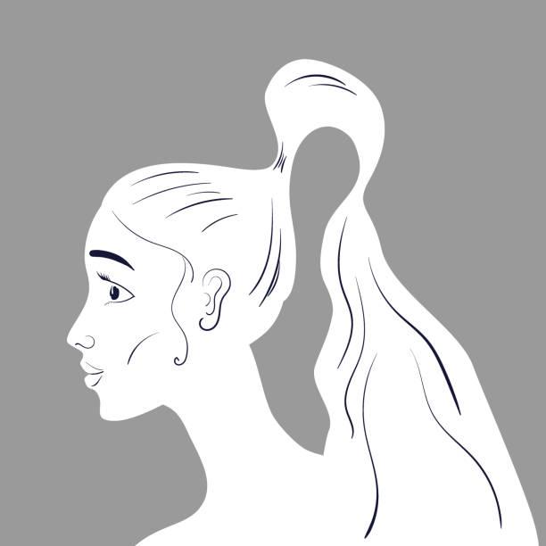 illustrazioni stock, clip art, cartoni animati e icone di tendenza di beautiful woman portraite with long wavy hair line art. vector illustration - portraite woman