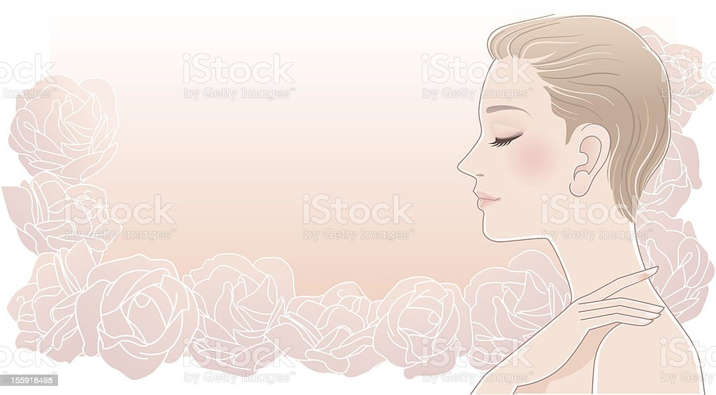 Beautiful woman profile with eyes closed on roses royalty-free beautiful woman profile with eyes closed on roses stock vector art & more images of 20-29 years