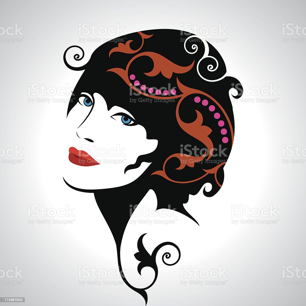 Beautiful woman silhouette royalty-free stock vector art