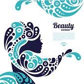 Tattoo of abstract girl hair. Marine design